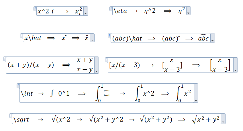 Examples of equation auto-formatting